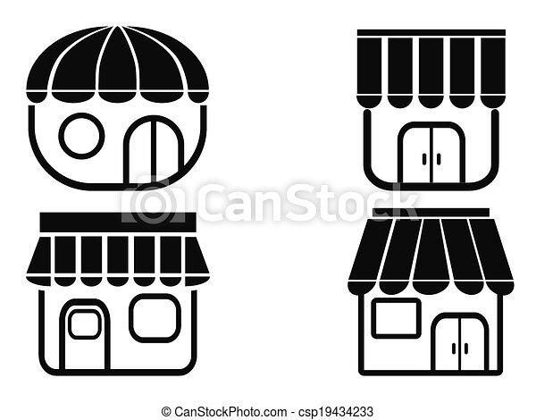 iconos de la tienda negra - csp19434233