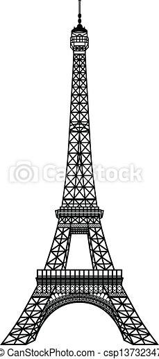 negro, torre, eiffel, silueta - csp13732347
