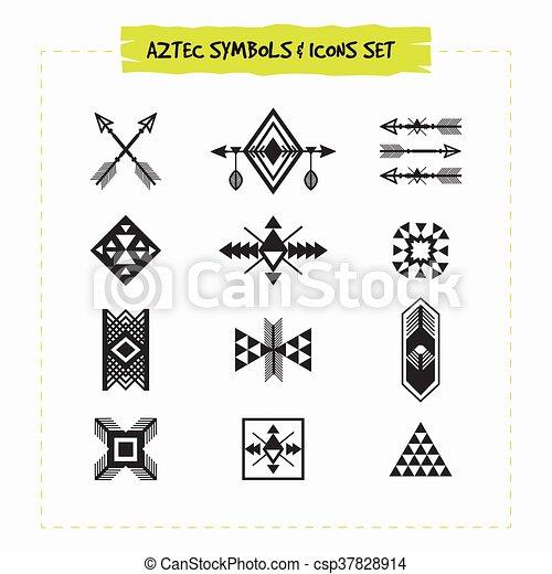 Negro, tribal, conjunto, silueta, azteca. Conjunto, silueta, iconos ...