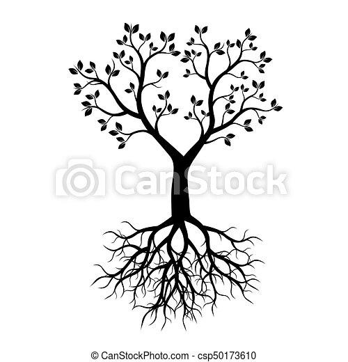 Árbol negro con raíces. Ilustración de vectores. - csp50173610