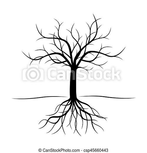 Árbol negro con raíces. Ilustración de vectores. - csp45660443