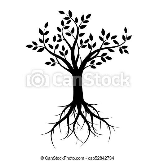 Árbol negro con raíces. Ilustración de vectores. - csp52842734
