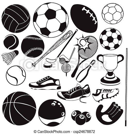 negro, vector, deporte, pelota, iconos - csp24678872