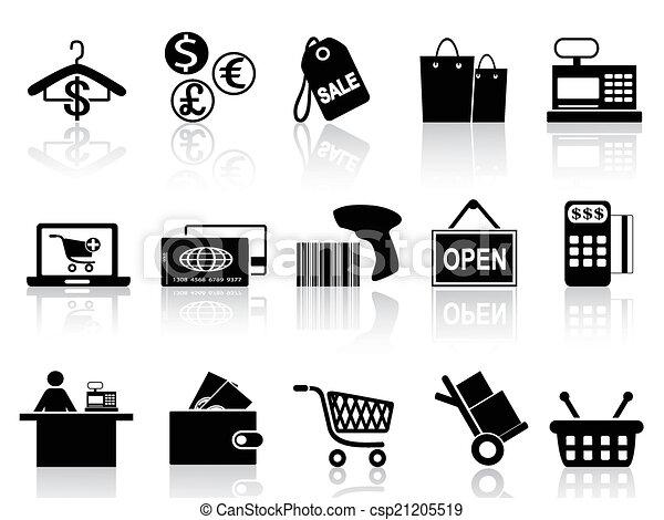 negro, venta al por menor, conjunto, compras, iconos - csp21205519