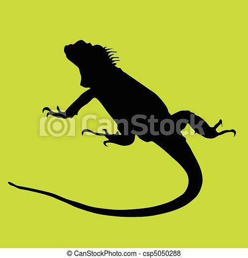 Iguana silueta negra en verde ba - csp5050288