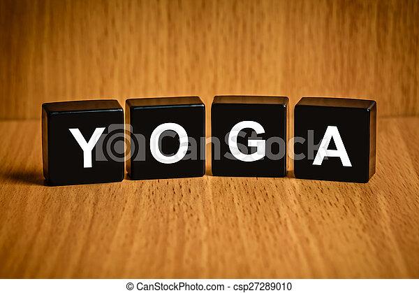 Palabra de yoga en el bloque negro - csp27289010