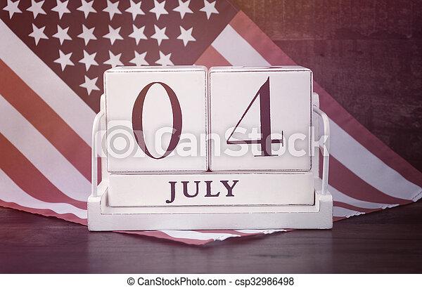 negyedik, július, erdő, naptár, lobogó, háttér., szüret - csp32986498
