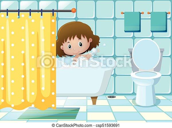Nehmen, badezimmer, m�dchen, bad. M�dchen, badezimmer,... EPS ...
