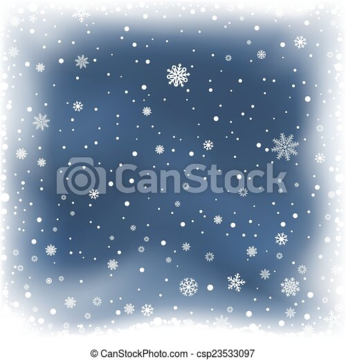 neige bleue, fond, nuit - csp23533097