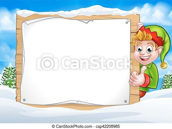 neige, elfe, scène, signe, noël, paysage - csp42208985