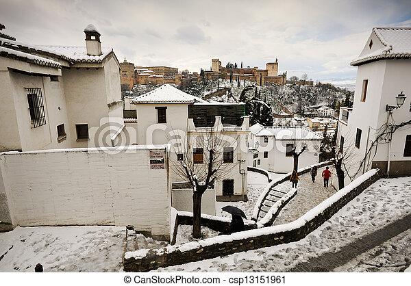 Neige Fondue Sidewalks Grenade Orage Neige Grenade Neige Fondue Sidewalks Neige Andalousie Orage Espagne Canstock