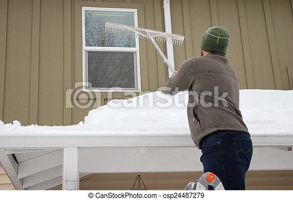 neige, toit, déménagement - csp24487279