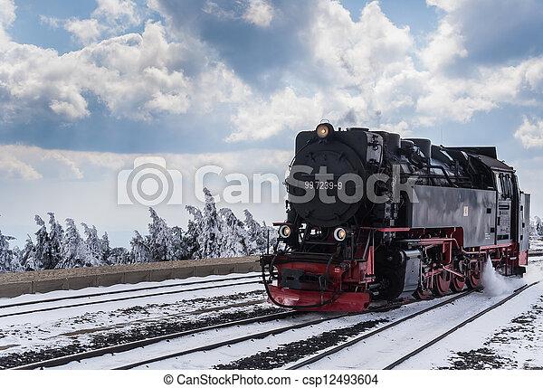 neige, train vapeur - csp12493604