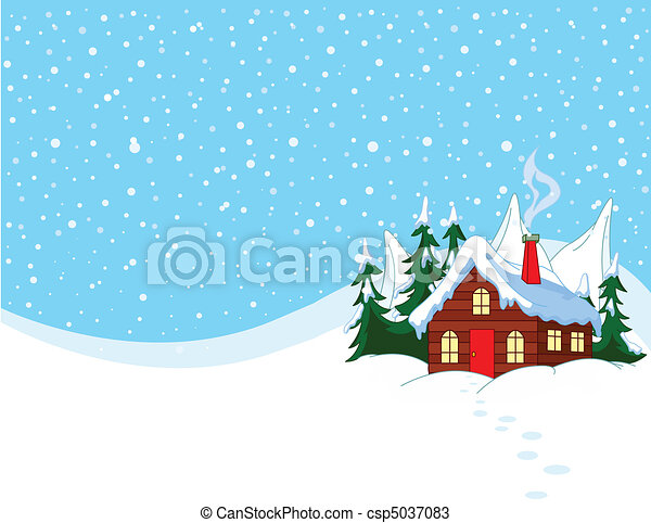 neigeux, peu, collines, maison - csp5037083