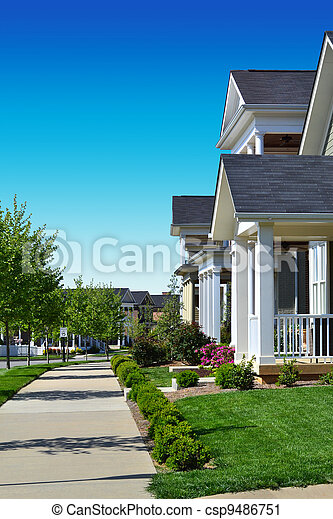 Neighborhood with Sidewalks - csp9486751