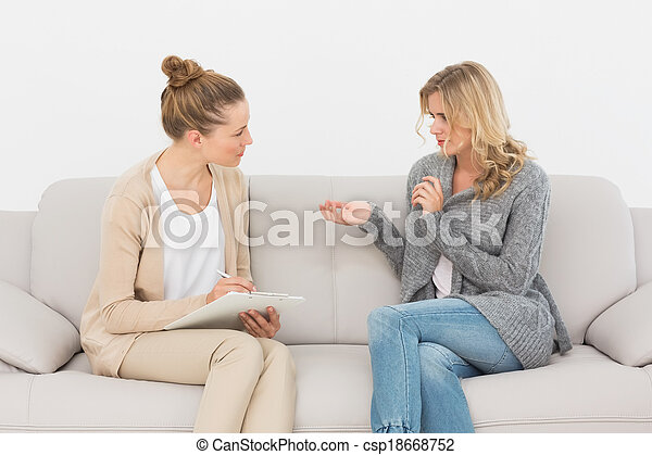 neki, gyógyász, beszéd, dívány, nő, szőke - csp18668752
