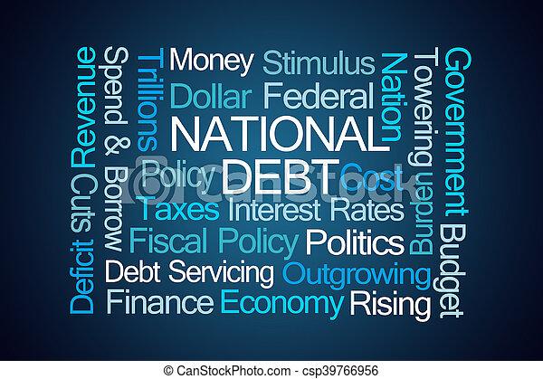nemzeti, adósság, szó, felhő - csp39766956