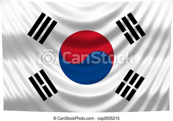 nemzeti, korea, lobogó, déli - csp2935215