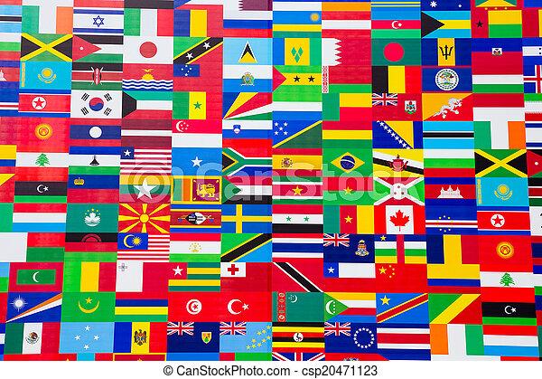 nemzetközi lobogó, különféle, bemutatás, országok - csp20471123