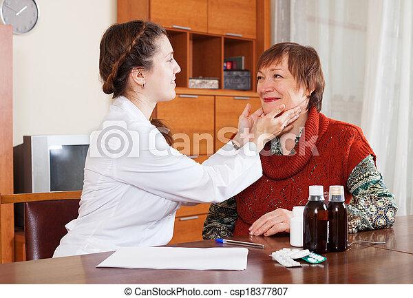 nenck, toucher, patient, docteur mûr - csp18377807