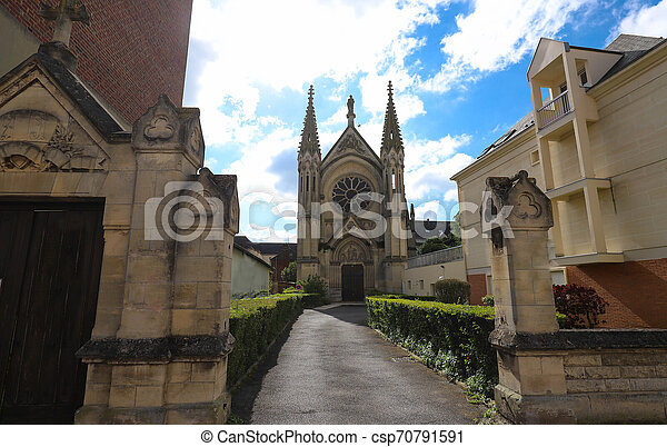 Neo Gothic Chapel of Saint-Joseph in Beauvais, France - csp70791591