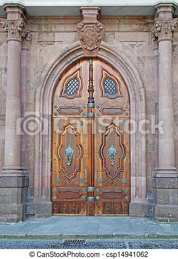 neo gothic door and columns - csp14941062 & Neo gothic door and columns. Old door in neo gothic style stock ...