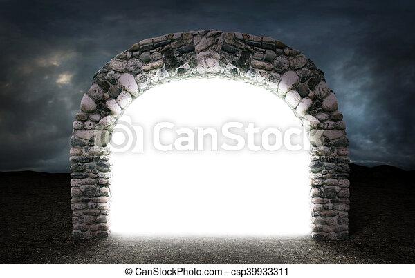 neobvyklý, pojem, proložit, kámen, skrz, hrozný, dimension., portál, jiný, tajemný, skoro., neposkvrněný, oblouk, opustit - csp39933311