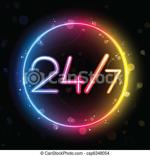 Neon 24/7 Rainbow Circle - csp6348054