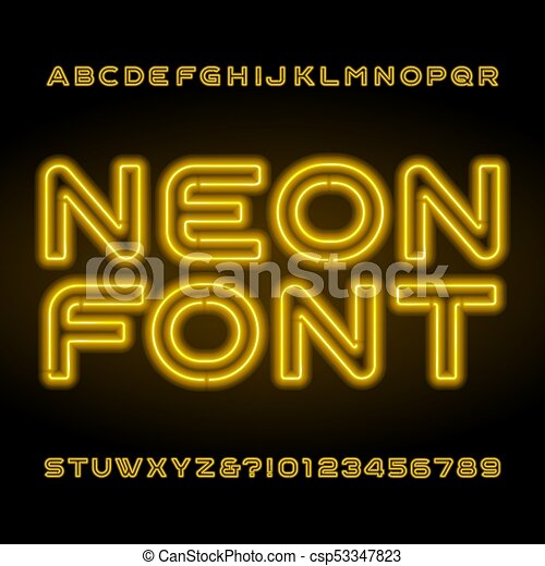 neon alphabet font yellow letters and numbers vector typeface for your headers or any typography design