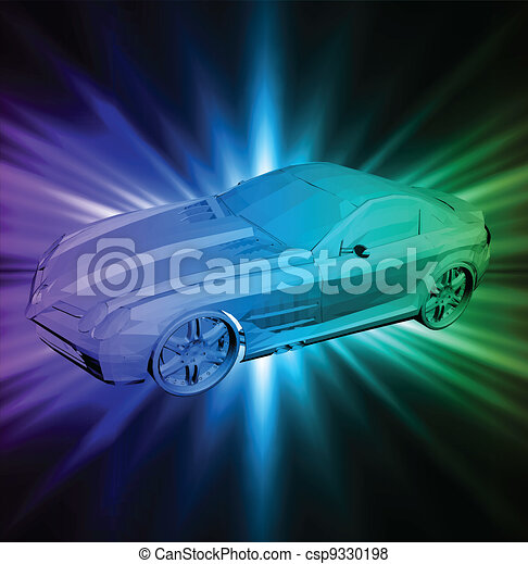 Neon background with car. Vector - csp9330198