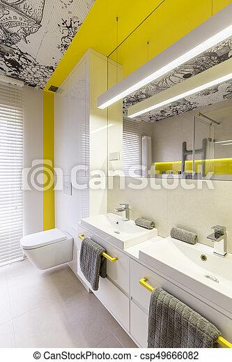 Neon, badkamer, ontwerp, idee, gele. Badkamer, grafisch, dubbel ...