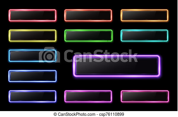 Neon buttons set on black background for web internet mobile app. Color glowing glass banner with plastic plate. Bright illustration - csp76110899