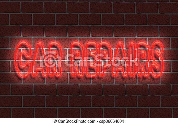 Neon CAR REPAIRS sign - csp36064804