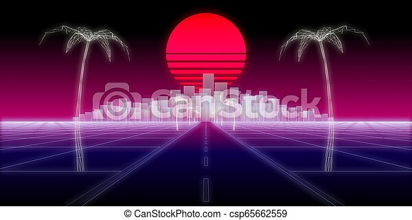 Neon City Palms Road 80 Retro Background 3d Render Neon City