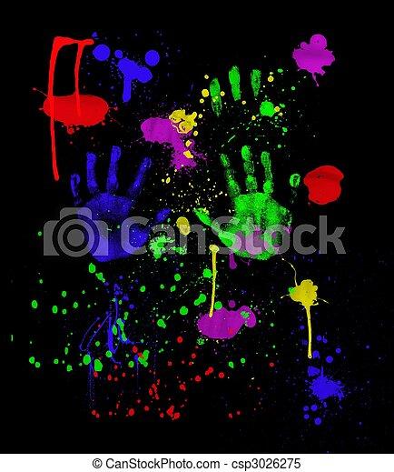 Neon Fingerpainting On Black   Csp3026275