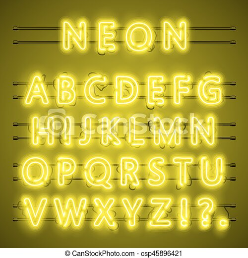 Neon font city text, Night yellow Alphabet, Vector illustration - csp45896421