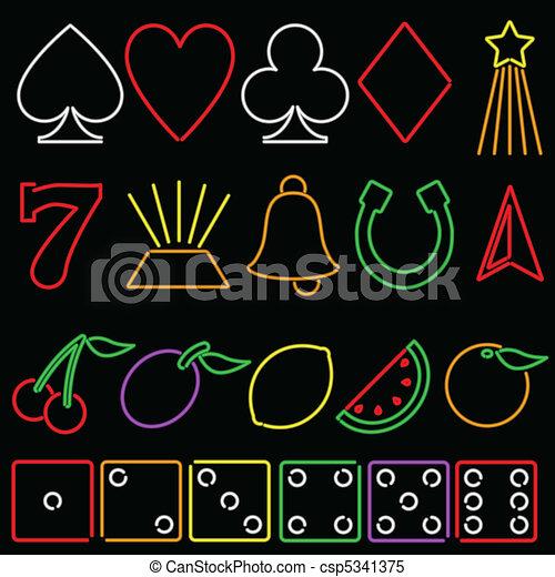 Neon gambling symbols - csp5341375