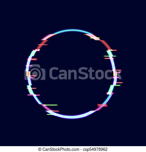 Neon Glitch Circle Frame, Technology Background, Minimalistic Design  Element. Isolated On Black, Neon Image.