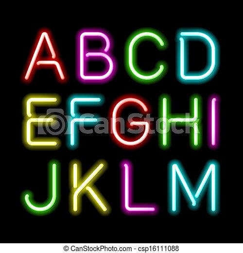Neon glow alphabet - csp16111088