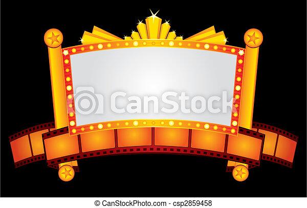 neon, goud, bioscoop - csp2859458
