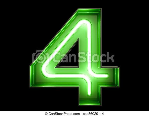 Neon Green Light Digit Alphabet Character 4 Four Font Neon Green