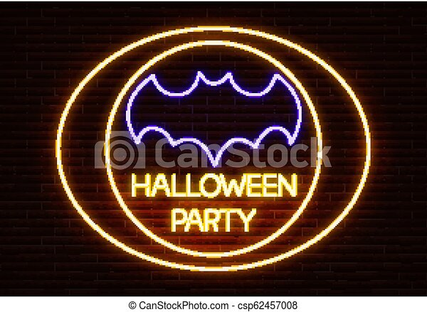 Batlight Shines On Line For Dark Knight >> Neon Halloween Party Sign Light Vector Isolated On Dark Red Brick
