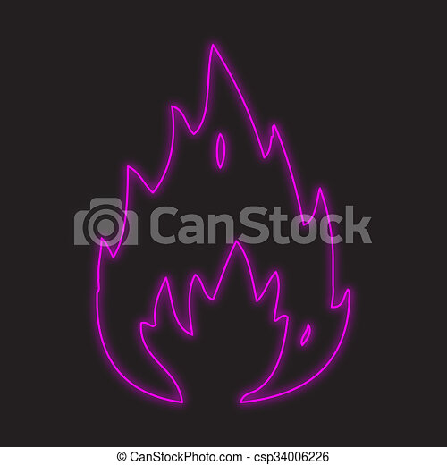 Neon Icon Isolated On A Black Background   Fire   Csp34006226
