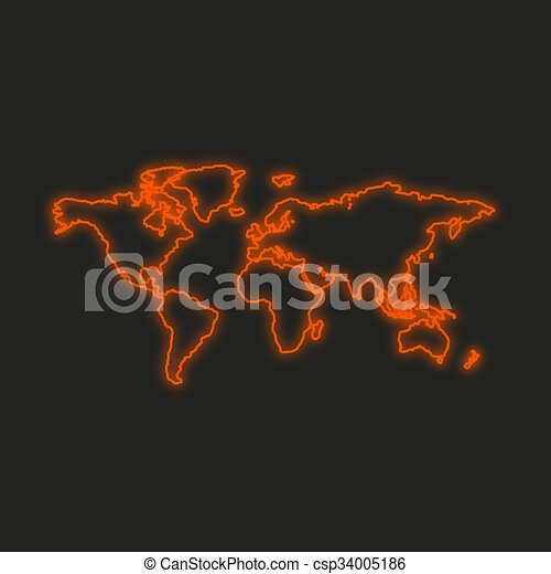 A neon icon isolated on a black background world map neon icon isolated on a black background world map csp34005186 gumiabroncs Image collections
