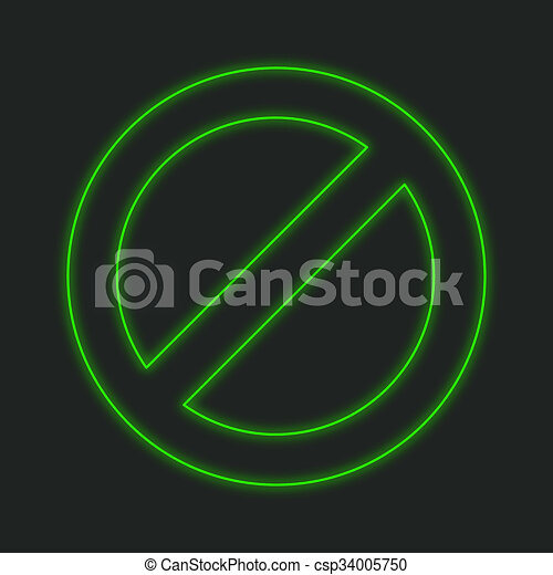 Neon Icon Isolated On A Black Background   Stop Sign   Csp34005750