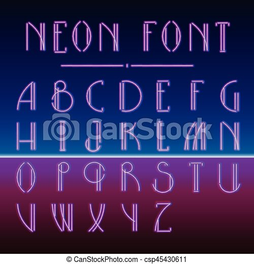 Neon linear font with 80s New Retro Wave trendy hipster style