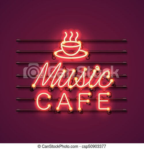 neon music cafe text icon signboard neon music cafe text icon