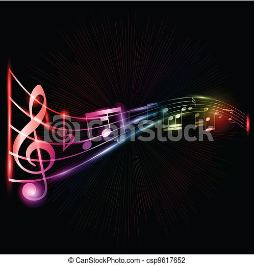 neon, notatki, muzyka, tło - csp9617652