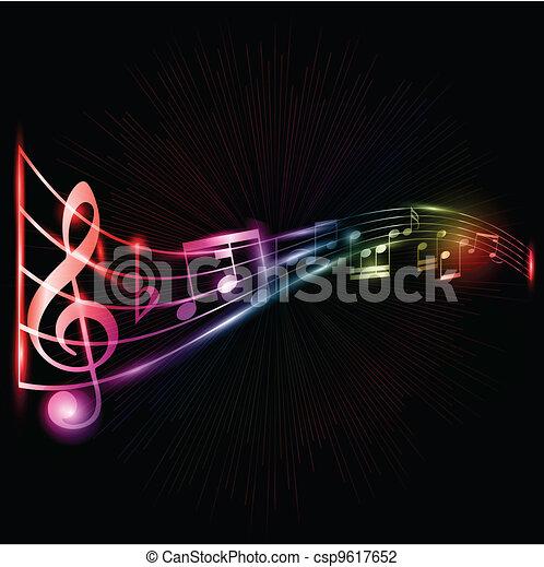 neon, note, musica, fondo - csp9617652
