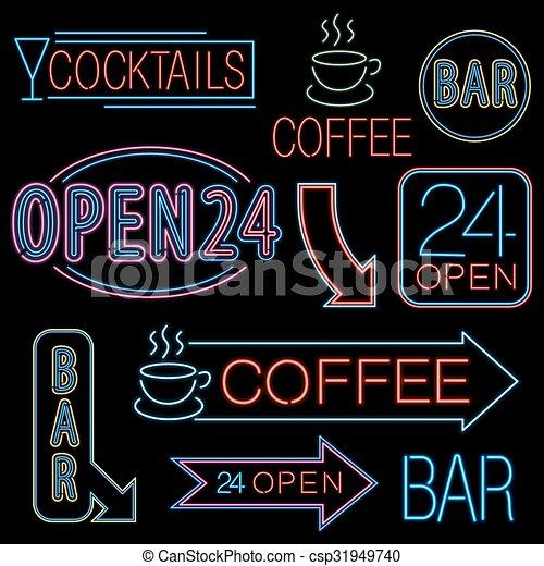 Neon open sign neon signs set different neon lights open bar neon open sign csp31949740 altavistaventures Gallery